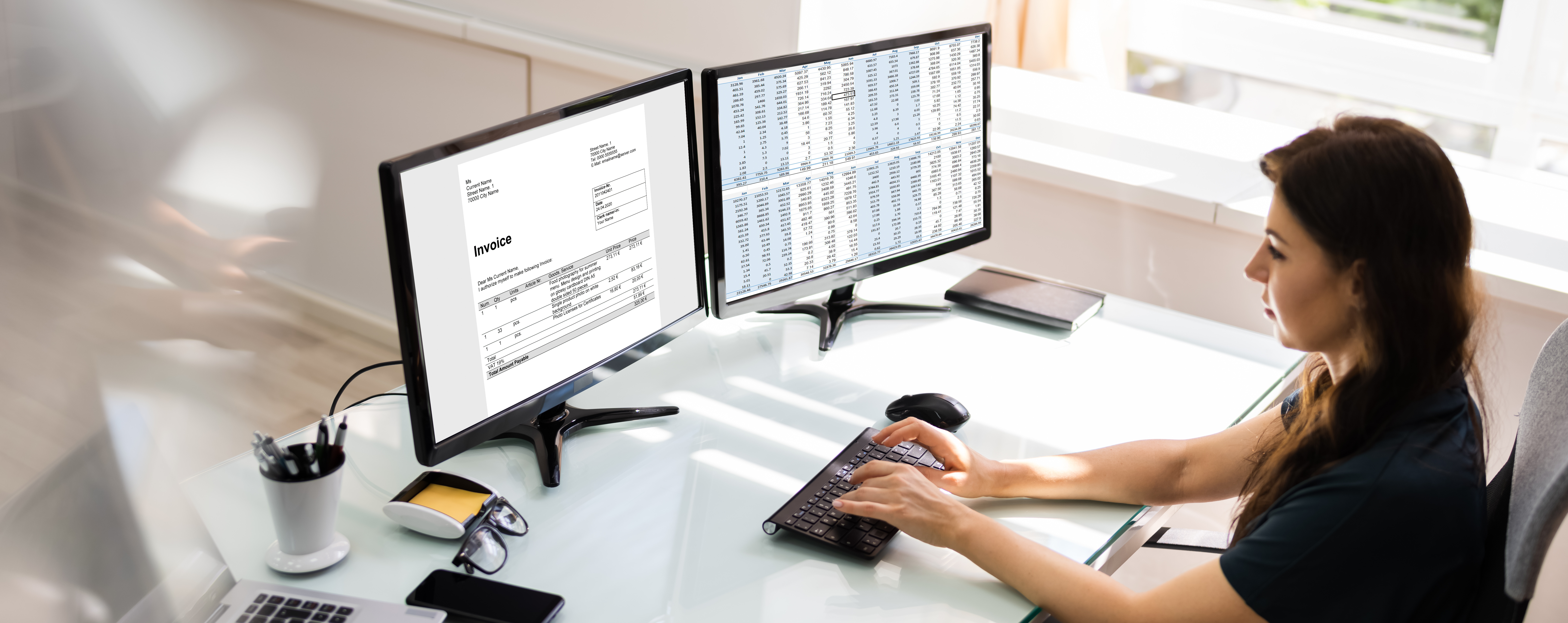 Accountant Using E Invoice Software At Computer